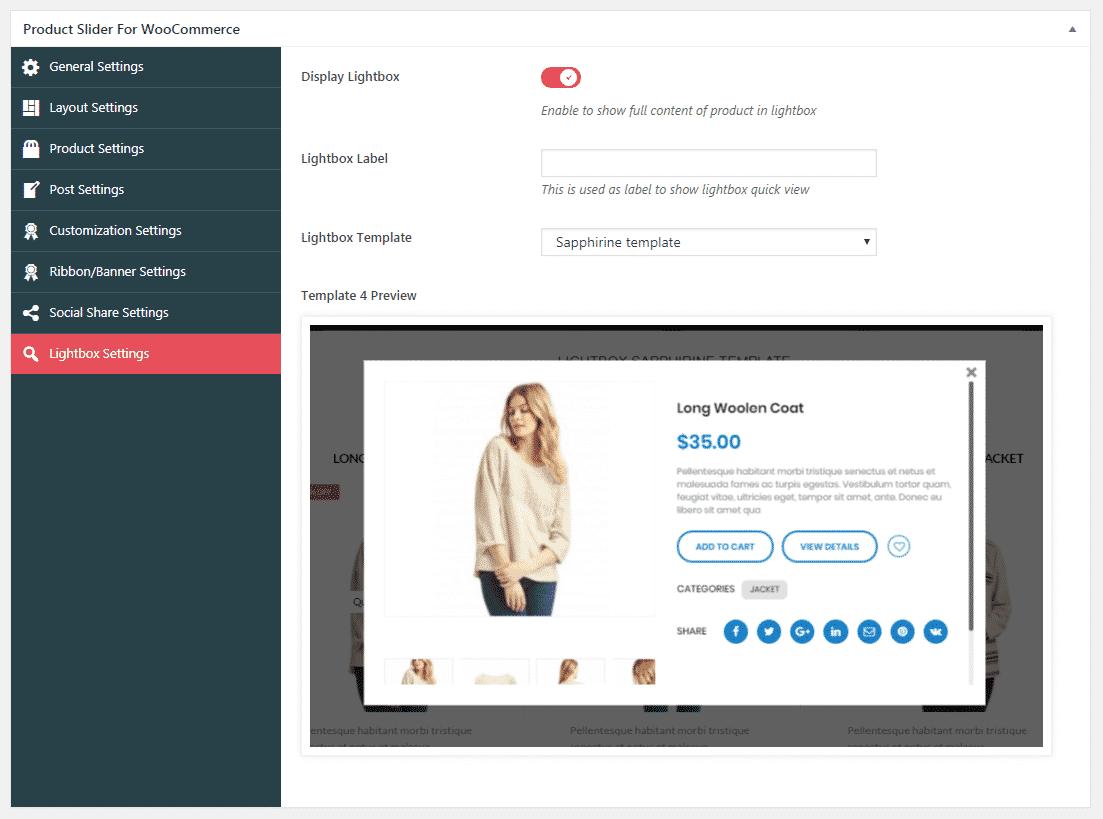 Product Slider for WooCommerce: Lighbox Settings