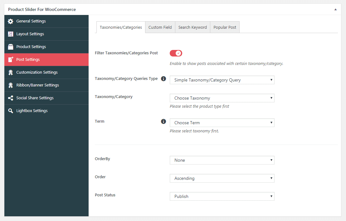 Product Slider for WooCommerce: Post Settings