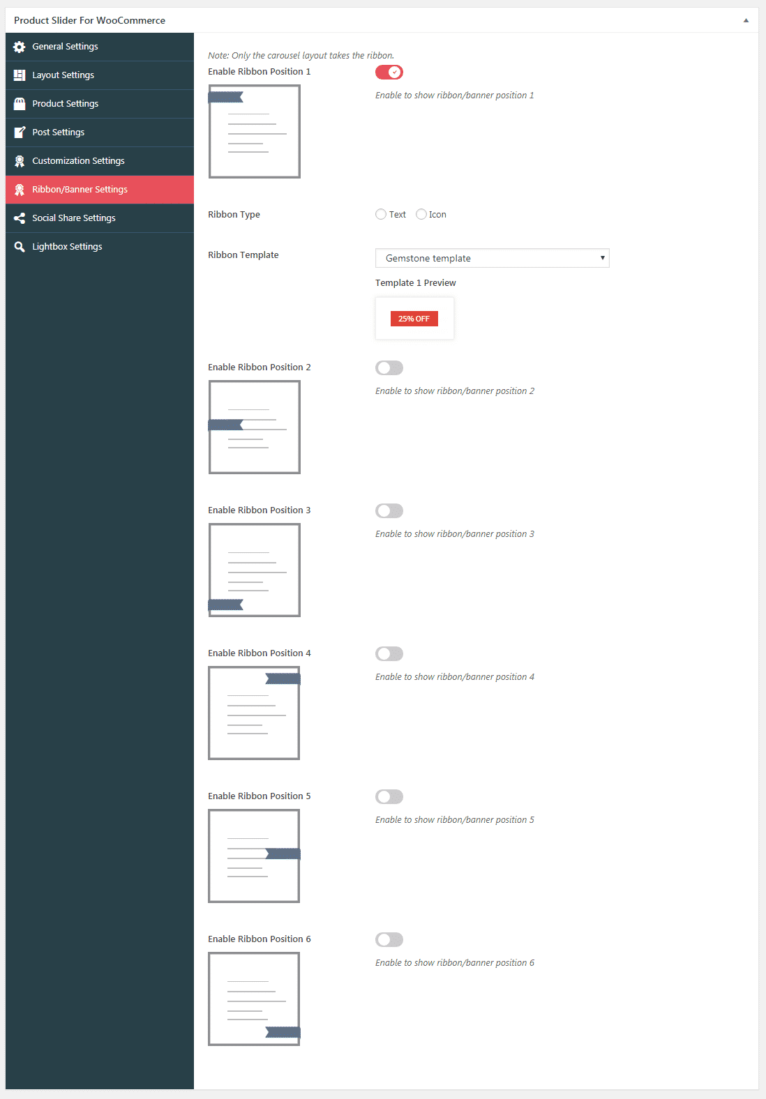 Product Slider for WooCommerce: Ribbon Settings