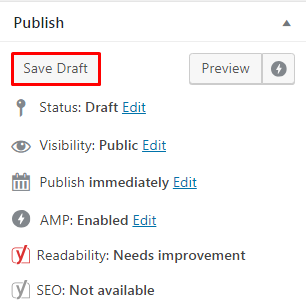 Save WordPress post in draft...