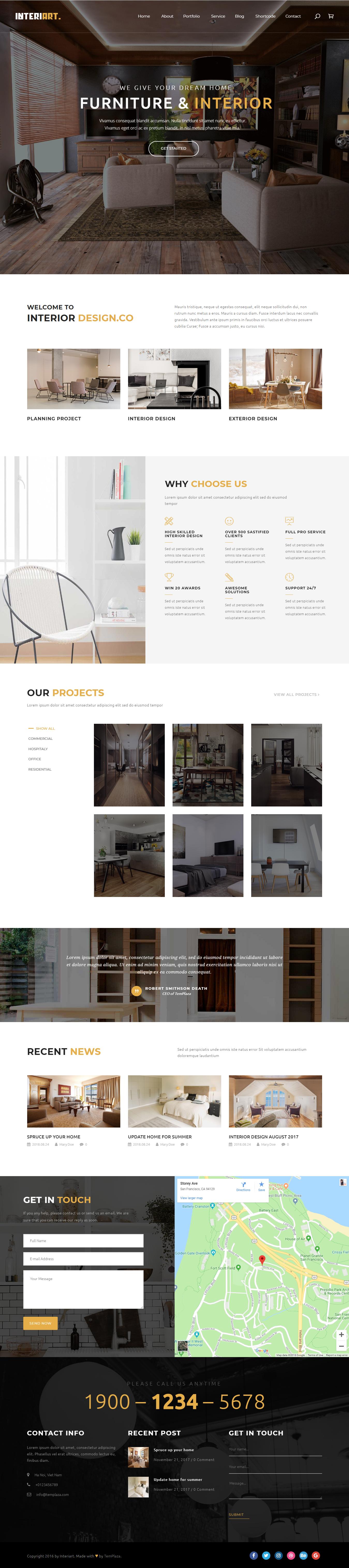 interiart best premium interior design wordpress theme - 10+ Best Premium Interior Design WordPress Themes