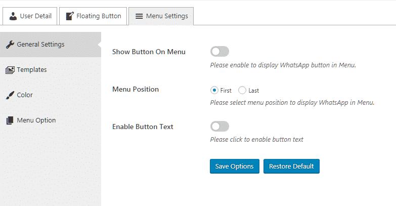 Ultimate Contact Button: General Settings