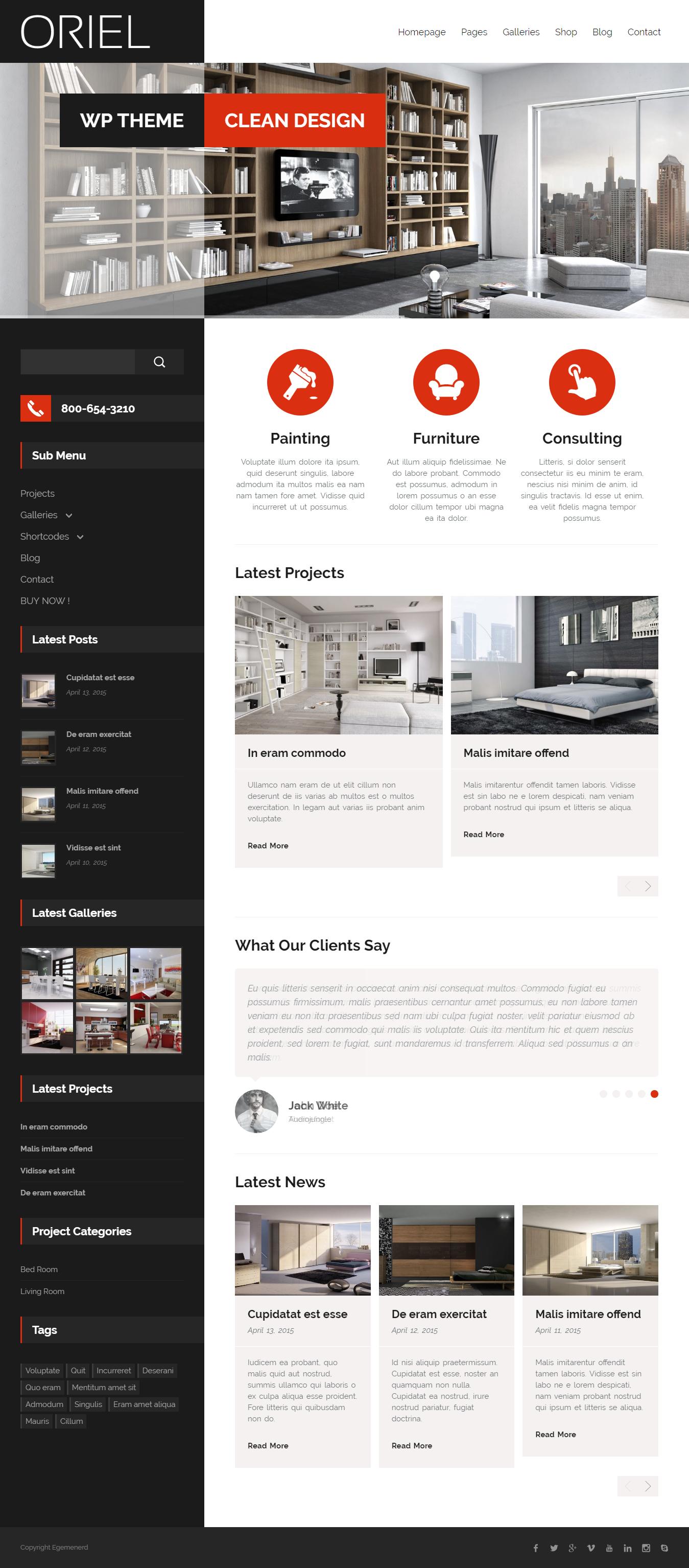 oriel best premium interior design wordpress theme - 10+ Best Premium Interior Design WordPress Themes
