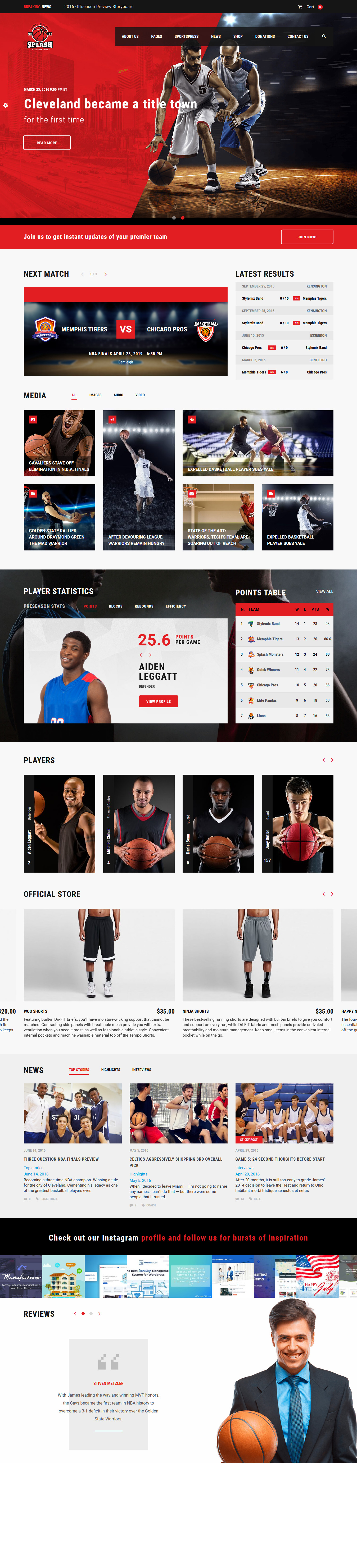 splash best premium sports wordpress theme 1 - 10+ Best Premium Sports WordPress Themes