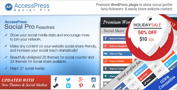accesspress social pro - 5+ Best WordPress Social Media Share/Counter Plugins (Premium Collection)