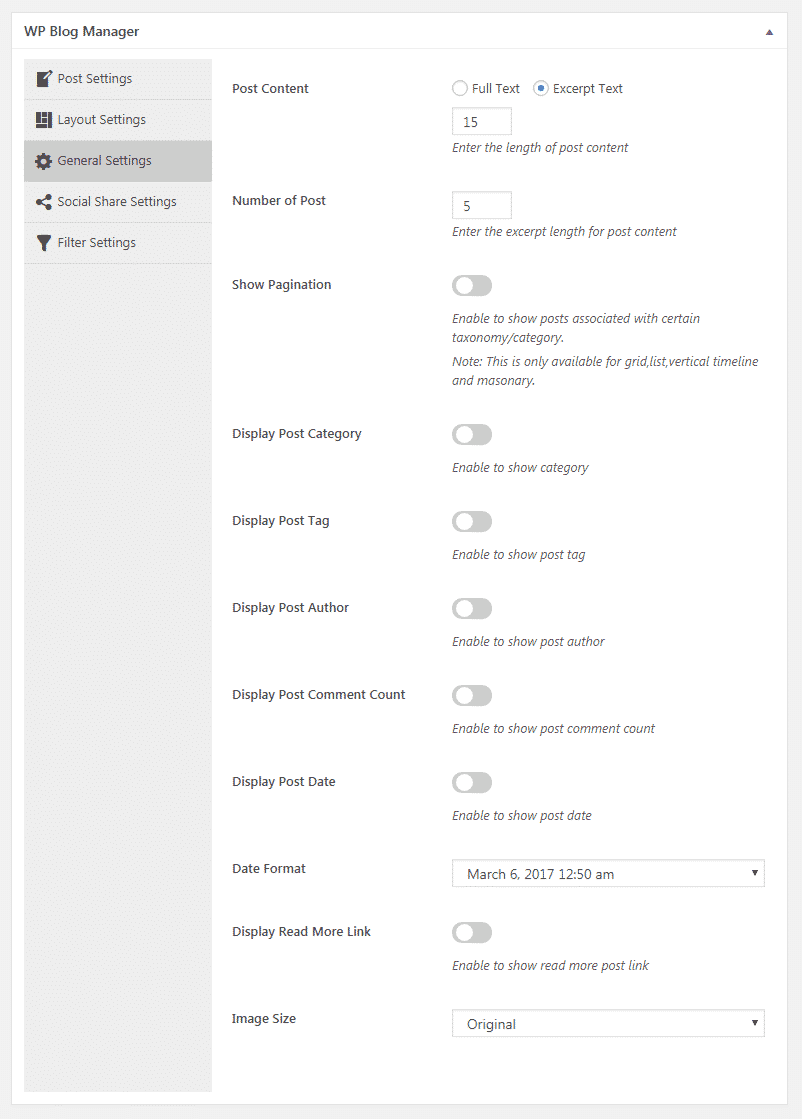 WP Blog Manager - General Settings