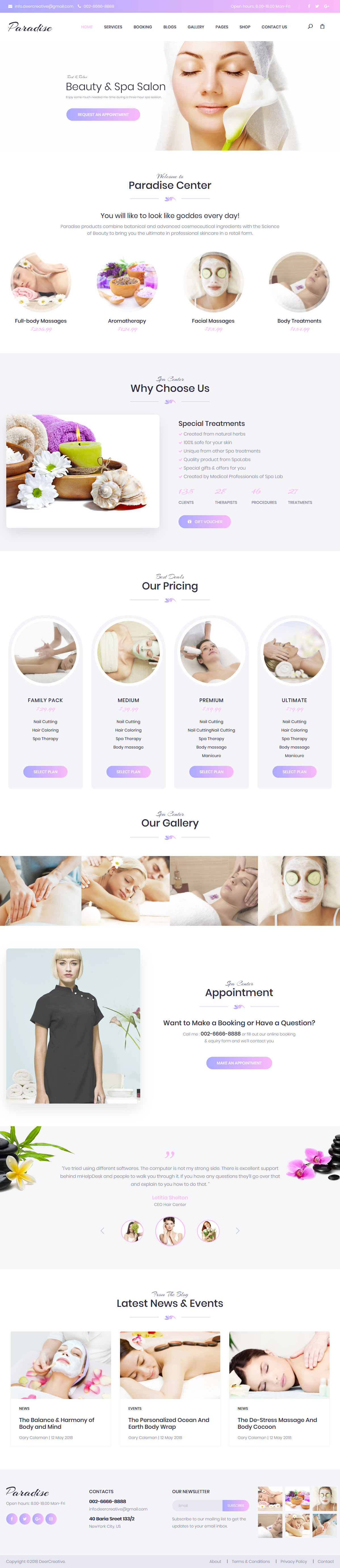 paradise best premium spa beauty wordpress theme - 10+ Best Premium Spa and Beauty WordPress Themes