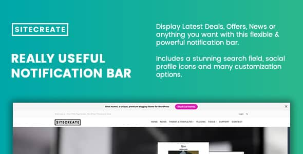 Best WordPress Notification Bar Plugin: SiteCreate