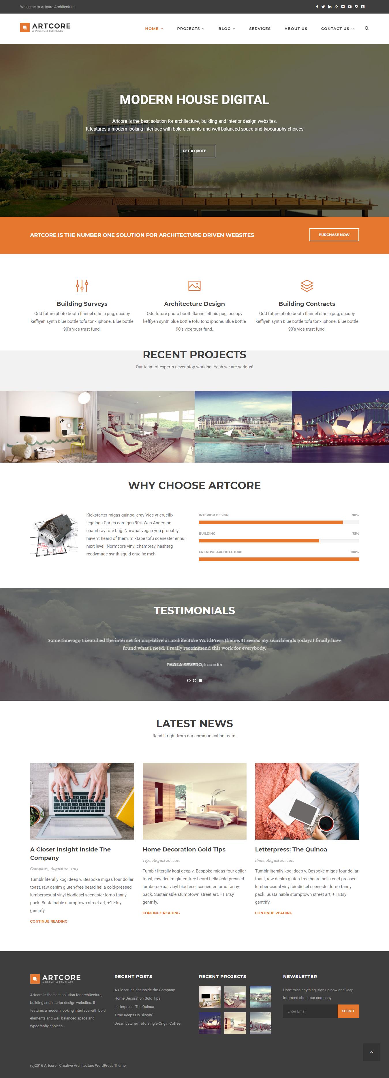 artcore best premium architecture wordpress theme - 10+ Best Premium Architecture WordPress Themes