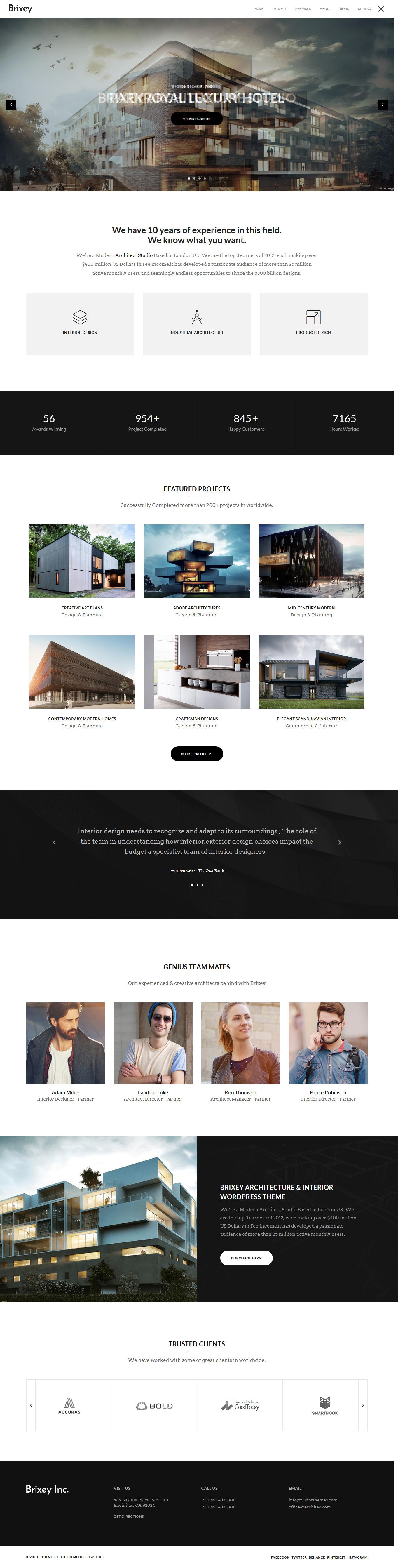 brixey best premium architecture wordpress theme - 10+ Best Premium Architecture WordPress Themes