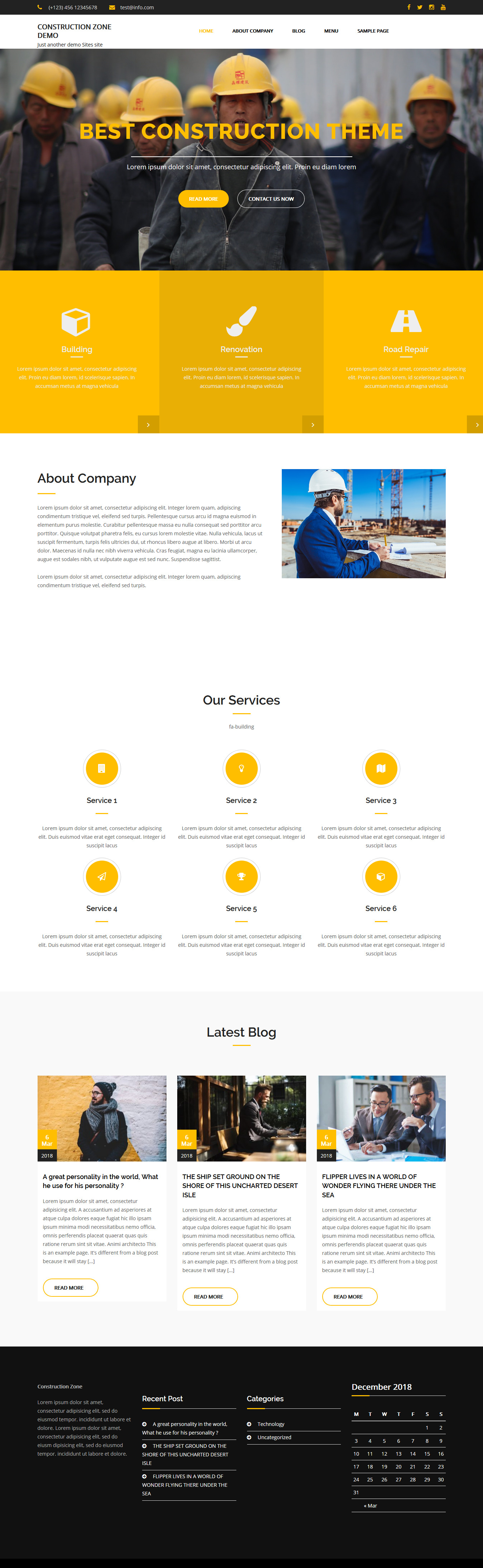 construction zone best free architecture wordpress theme - 10+ Best Free Architecture WordPress Themes