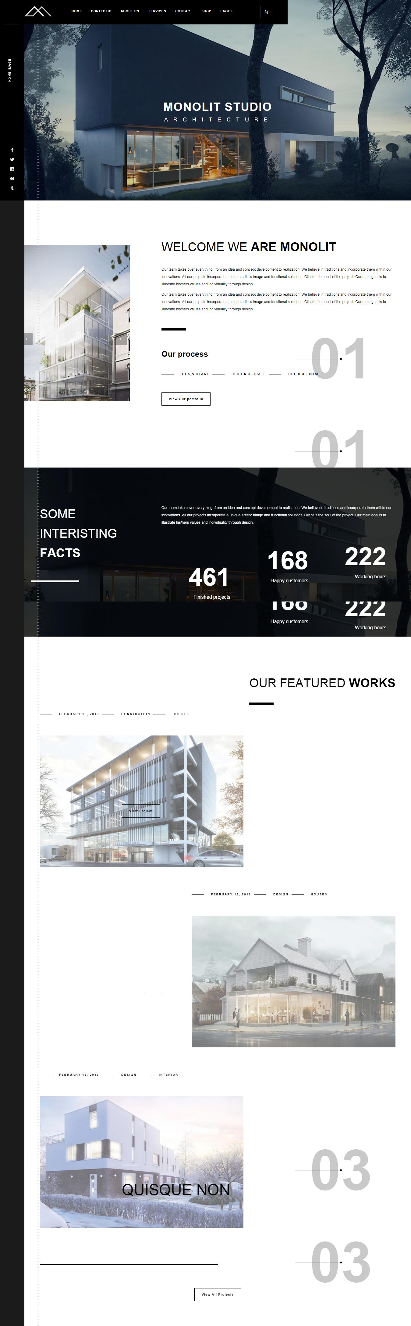 monolit best premium architecture wordpress theme 1 - 10+ Best Premium Architecture WordPress Themes