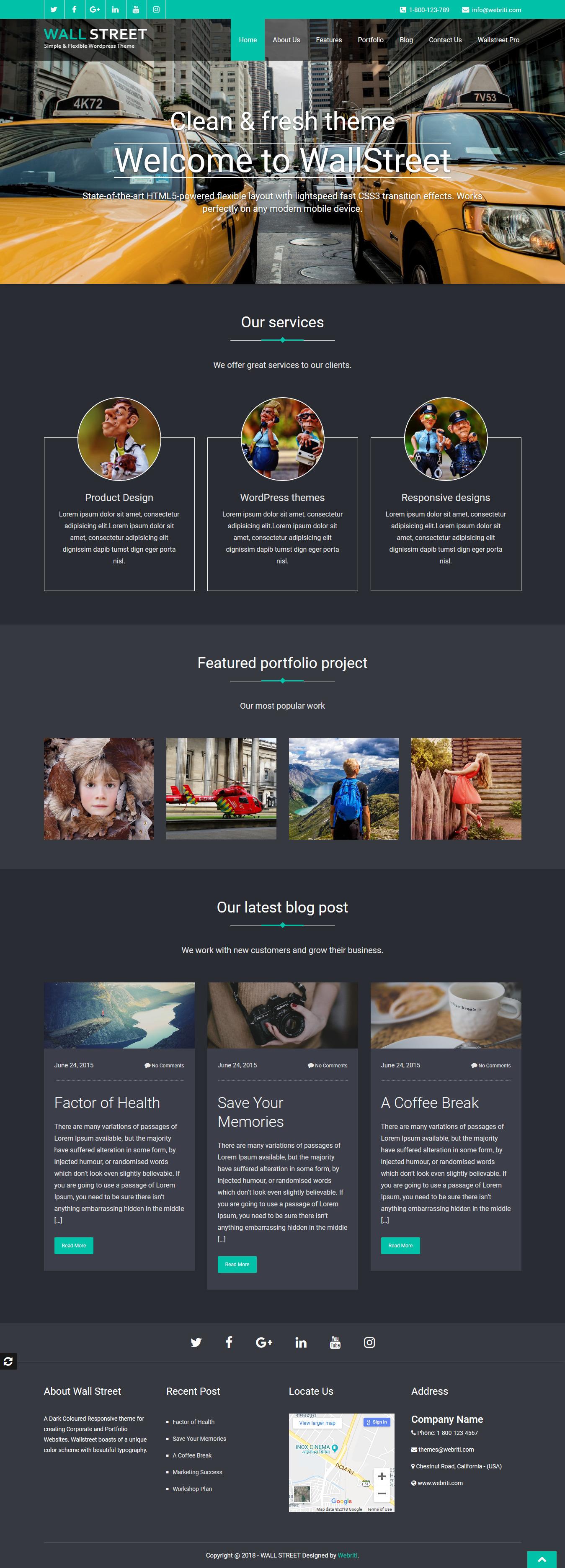 wallstreet best free architecture wordpress theme - 10+ Best Free Architecture WordPress Themes