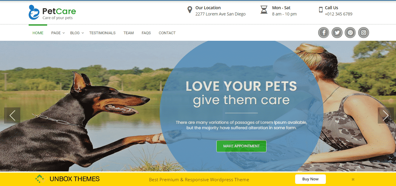Pet Care Clinic - Best Free WordPress Animal and Pet Theme
