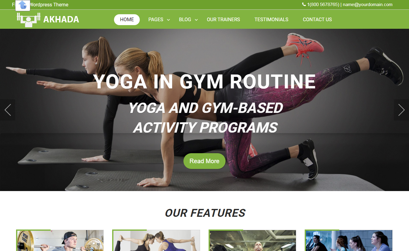 Akhada Fitness Gym- Free Fitness WordPress Theme