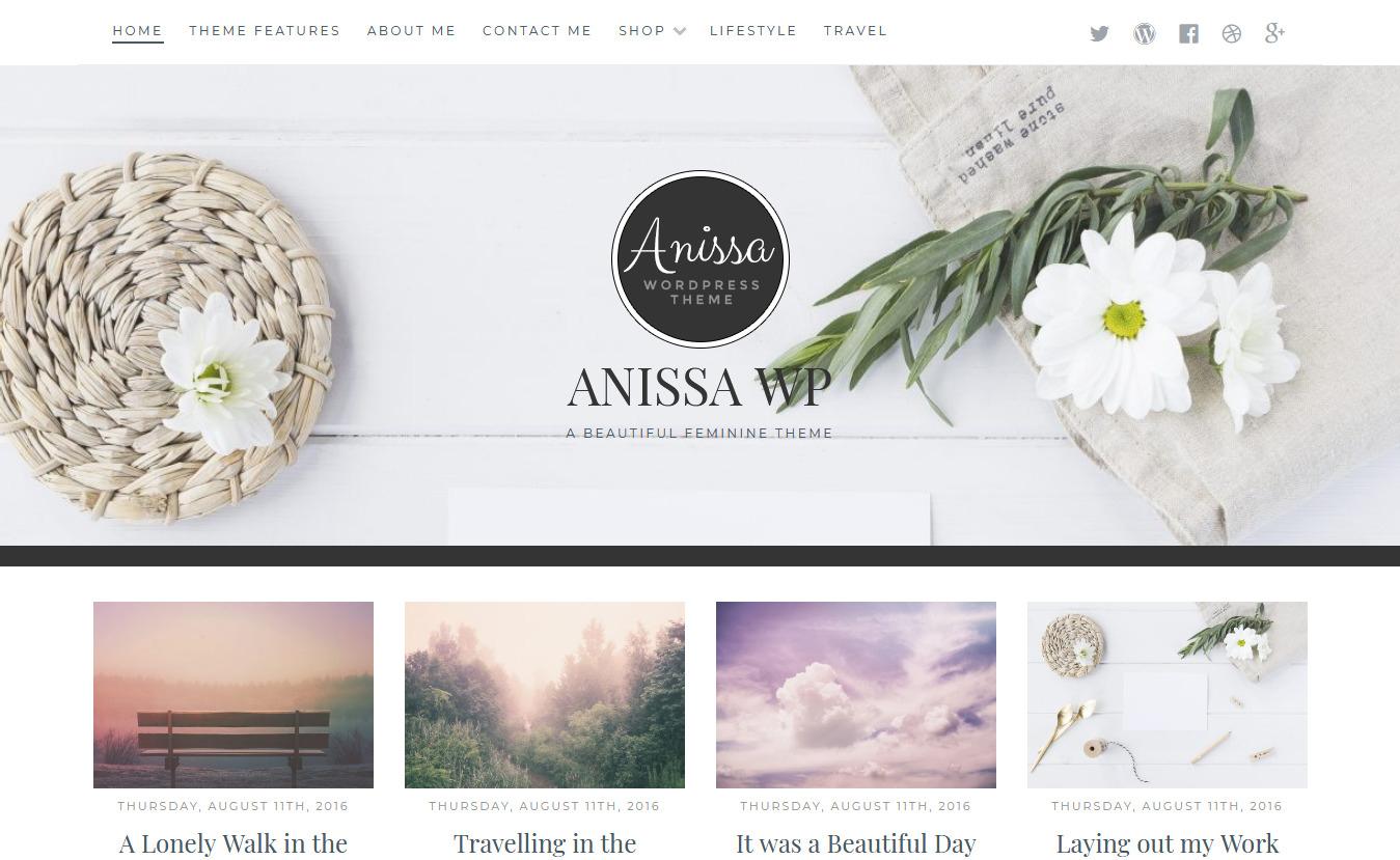 Anissa - Free Feminine WordPress Theme