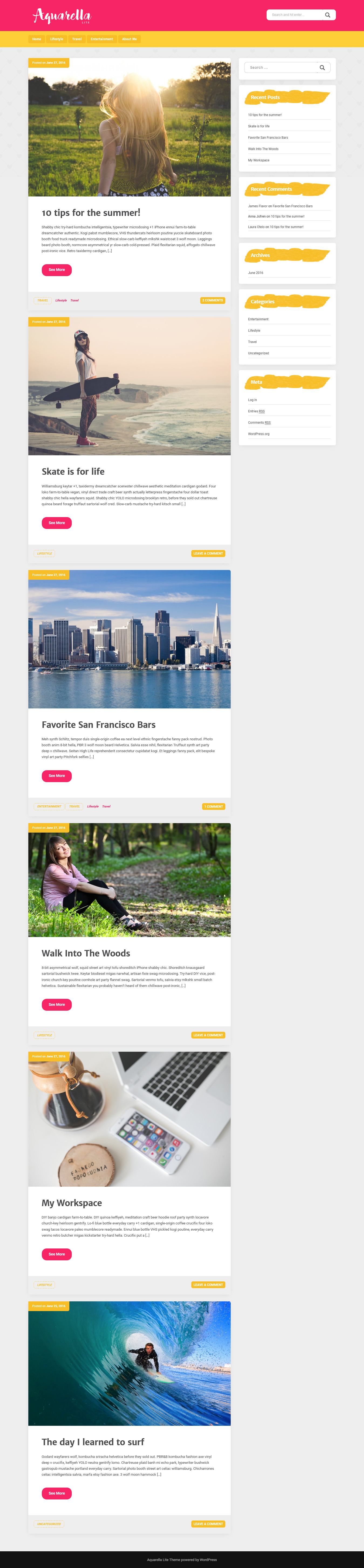 aquarella lite best free feminine wordpress theme - 10+ Best Free Feminine WordPress Themes