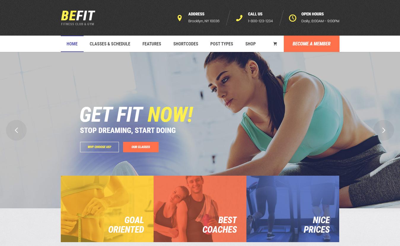 Be Fit - Best Premium Fitness WordPress Theme