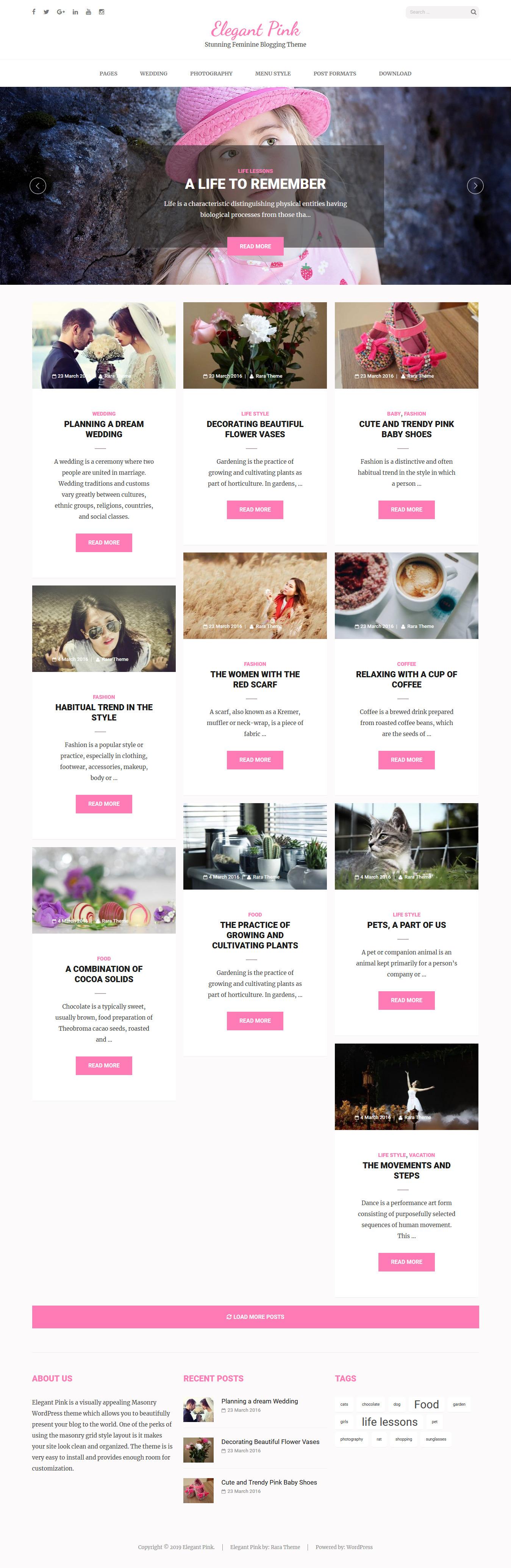 elegant pink best free feminine wordpress theme - 10+ Best Free Feminine WordPress Themes