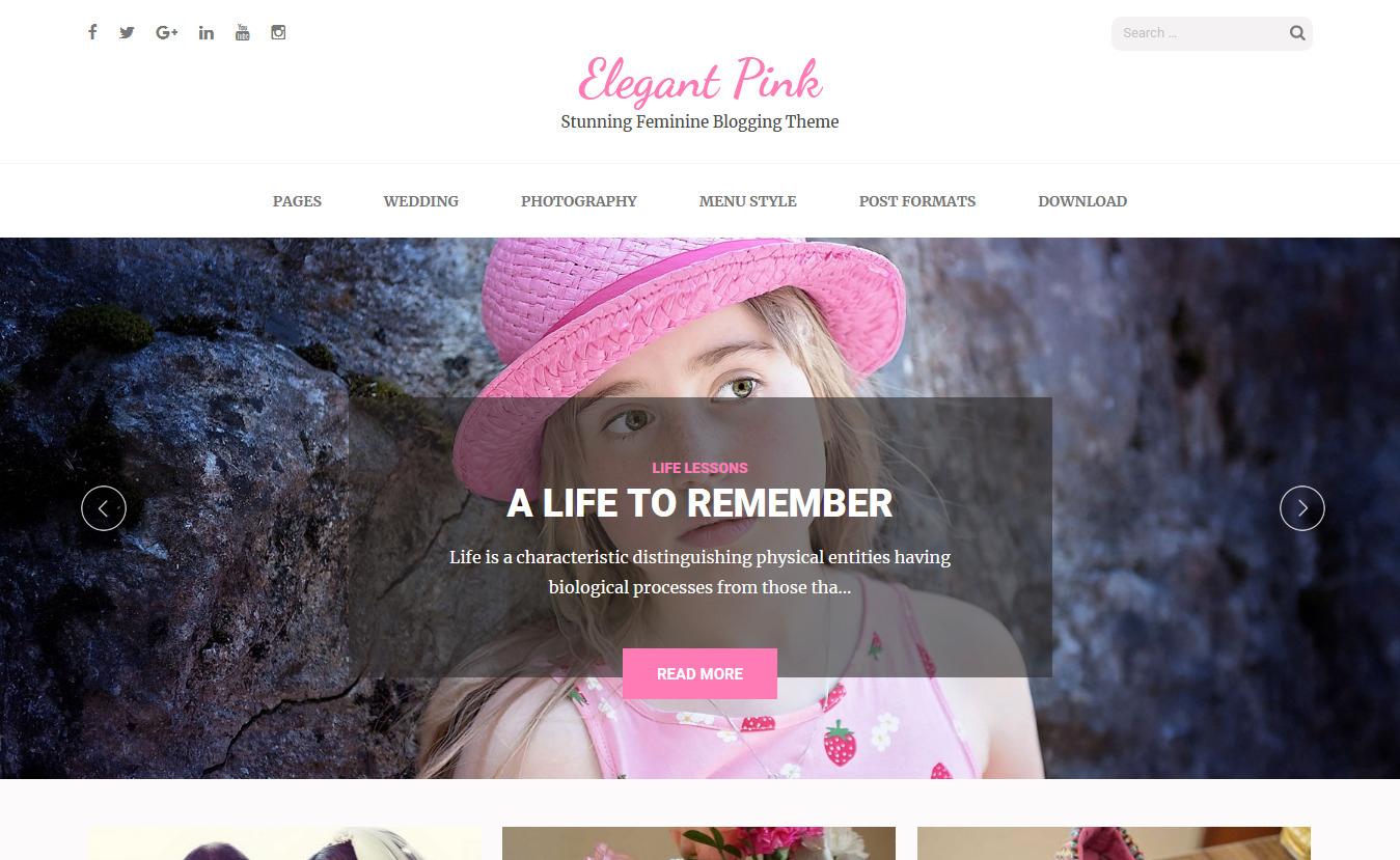 Elegant Pink - Free Feminine WordPress Theme