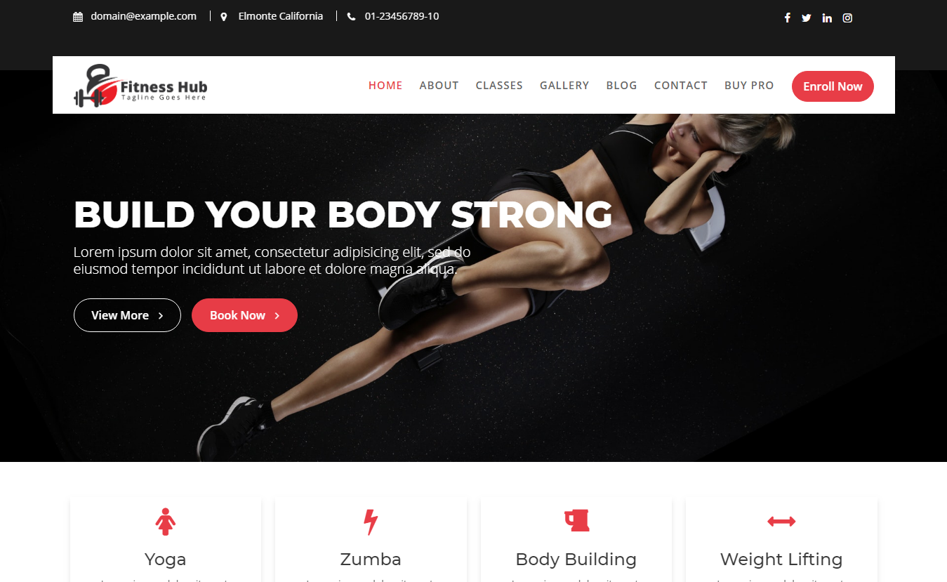 Fitness Hub - Free Fitness WordPress Theme