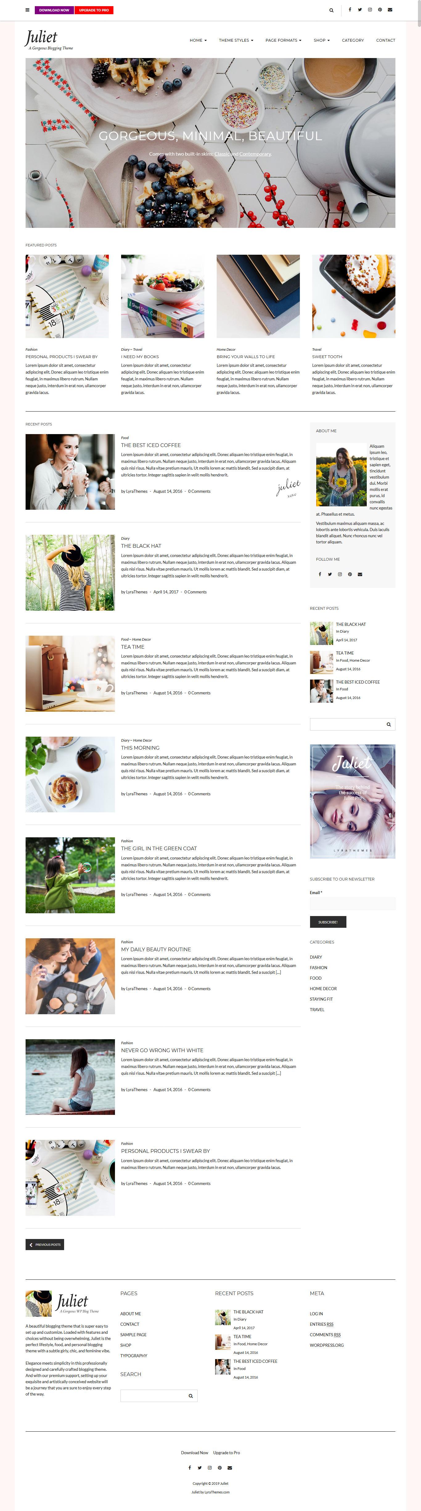 juliet best free feminine wordpress theme - 10+ Best Free Feminine WordPress Themes