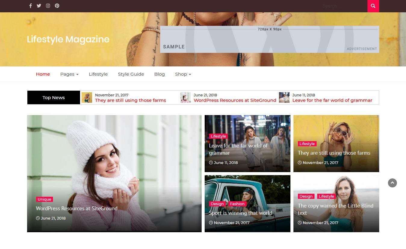 Lifestyle Magazine - Free Feminine WordPress Theme