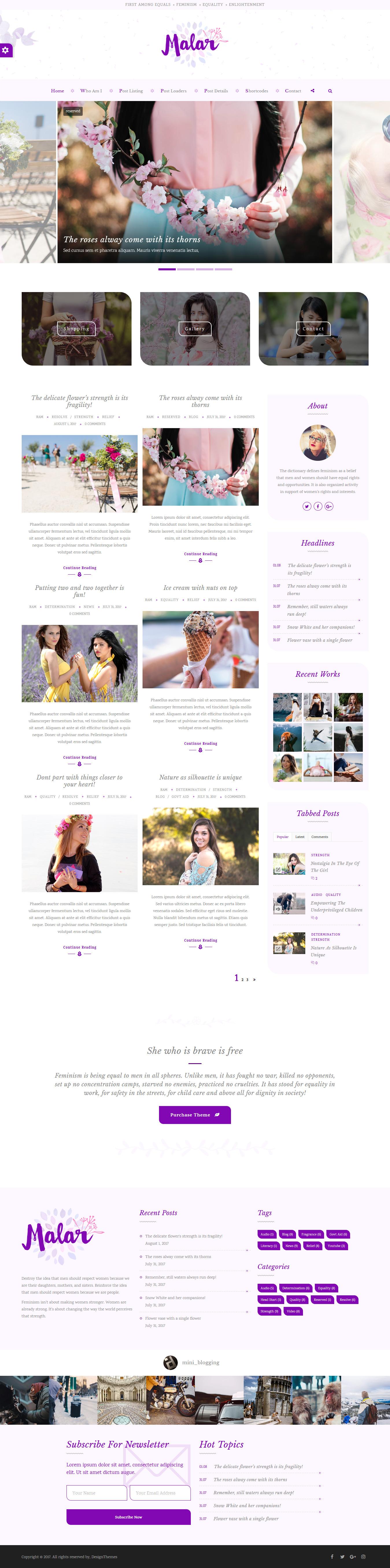 malar best premium feminine wordpress theme - 10+ Best Feminine WordPress Themes (Premium Version)