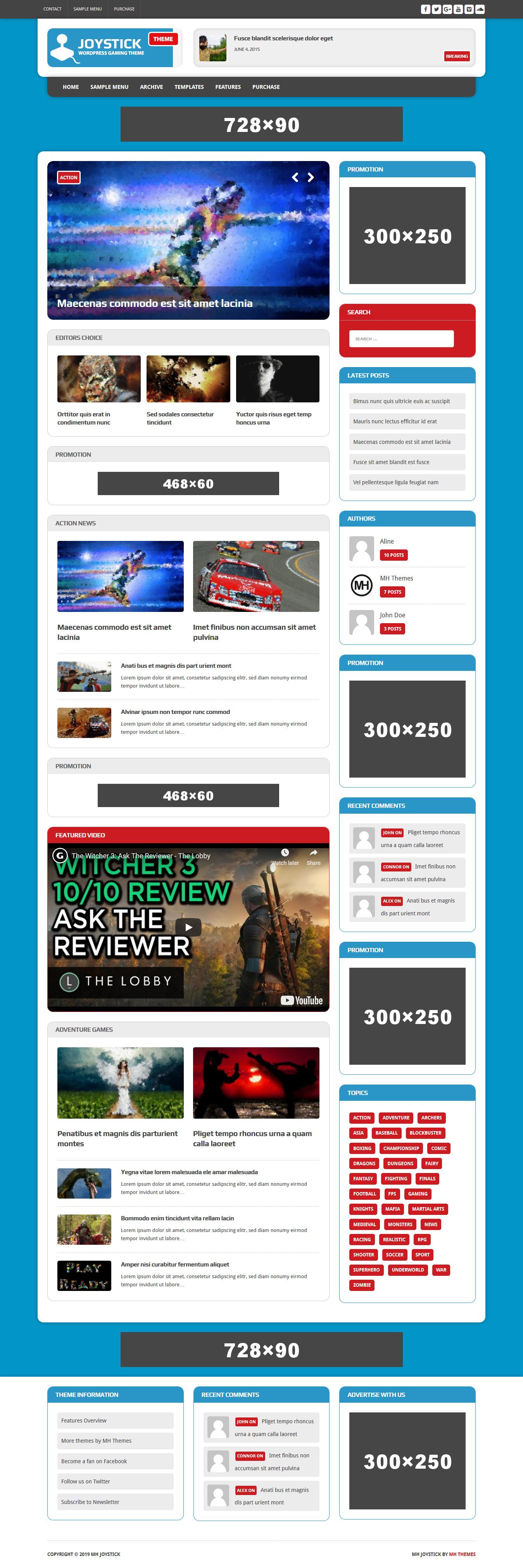 mh joystick lite best free gaming wordpress theme - 10+ Best Free Gaming WordPress Themes