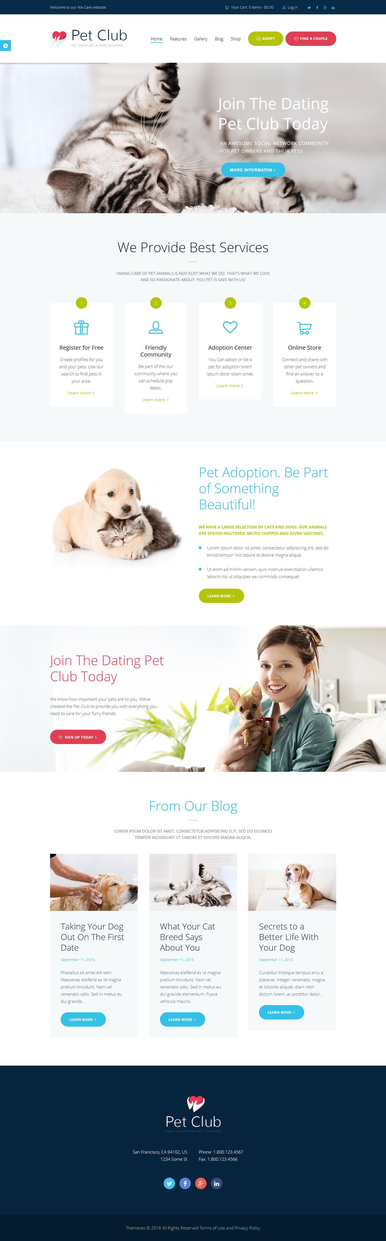 pet club best premium animal and pet wordpress theme - 10+ Best Premium Animal and Pet WordPress Themes