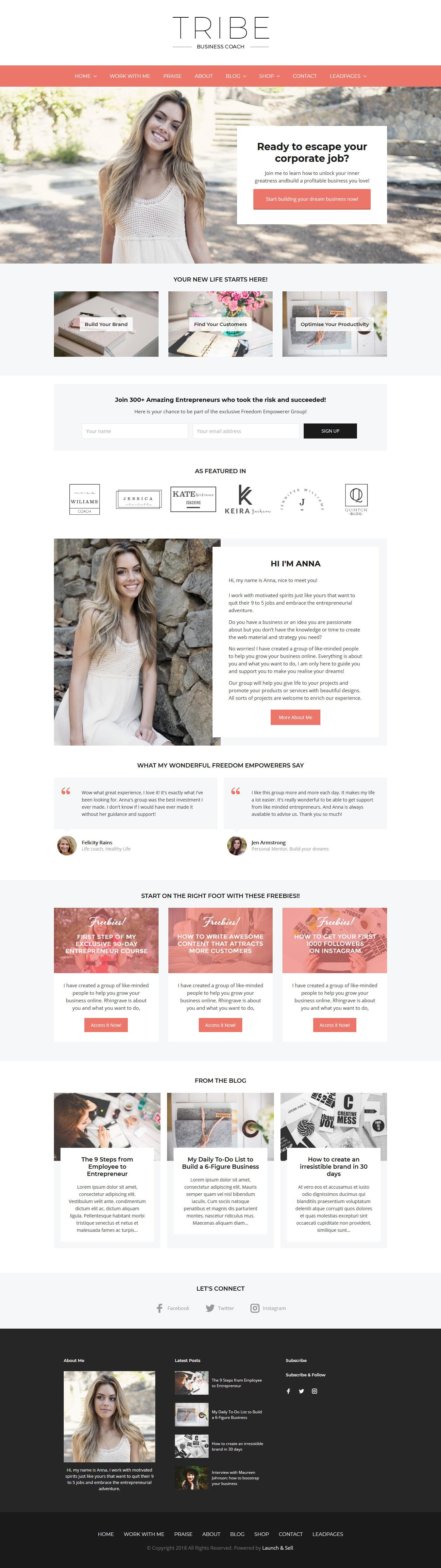 tribe coach best premium feminine wordpress theme - 10+ Best Feminine WordPress Themes (Premium Version)