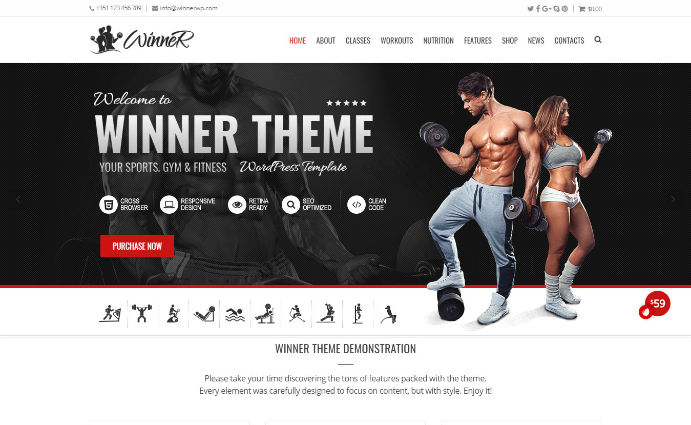 Winner- Best Premium Fitness WordPress Theme