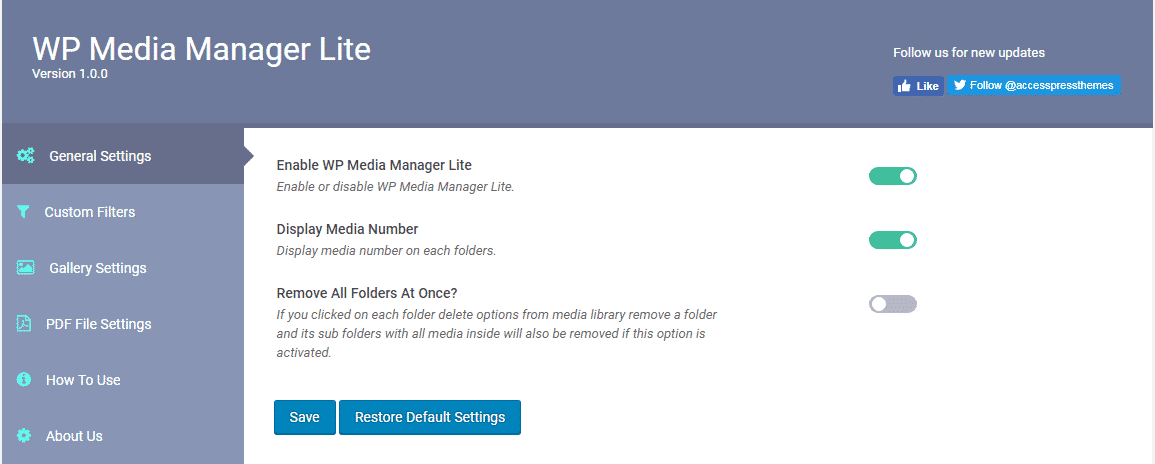 WP Media Manager: General Settings