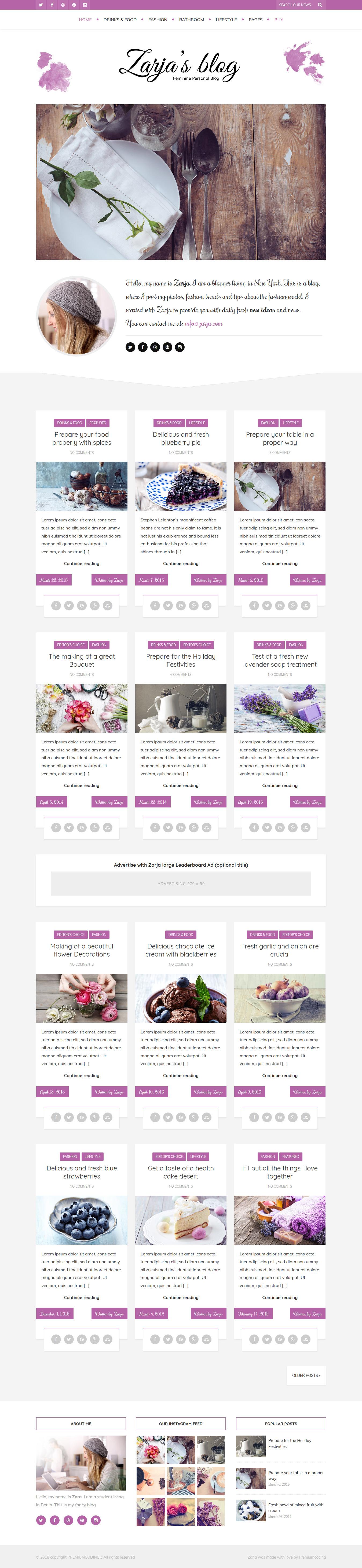 zarja blog best premium feminine wordpress theme - 10+ Best Feminine WordPress Themes (Premium Version)