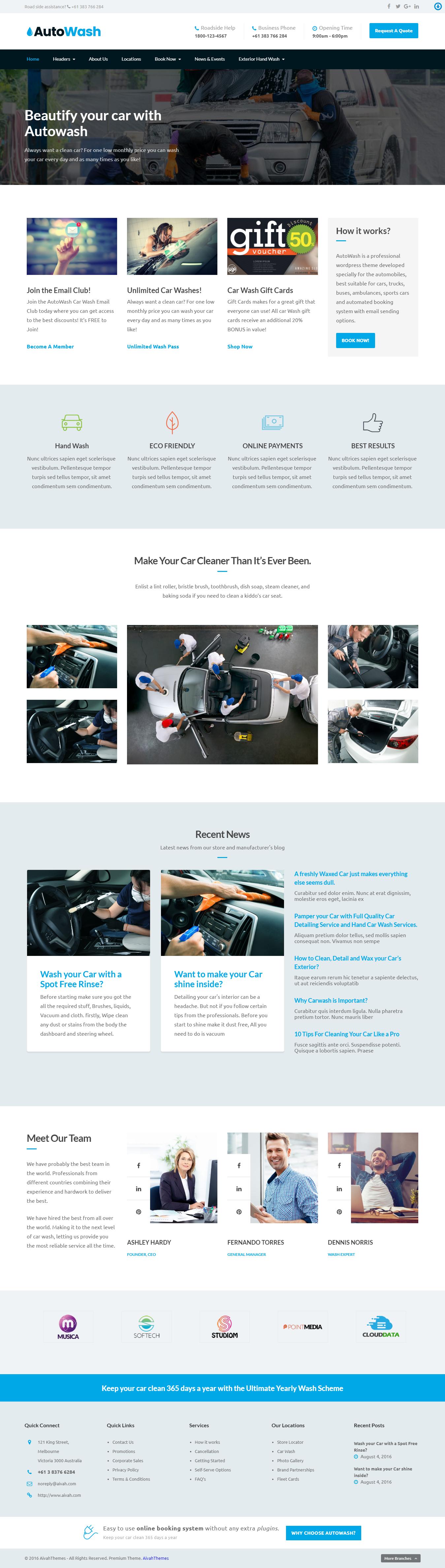 Autowash - Best Premium Automobile WordPress Theme