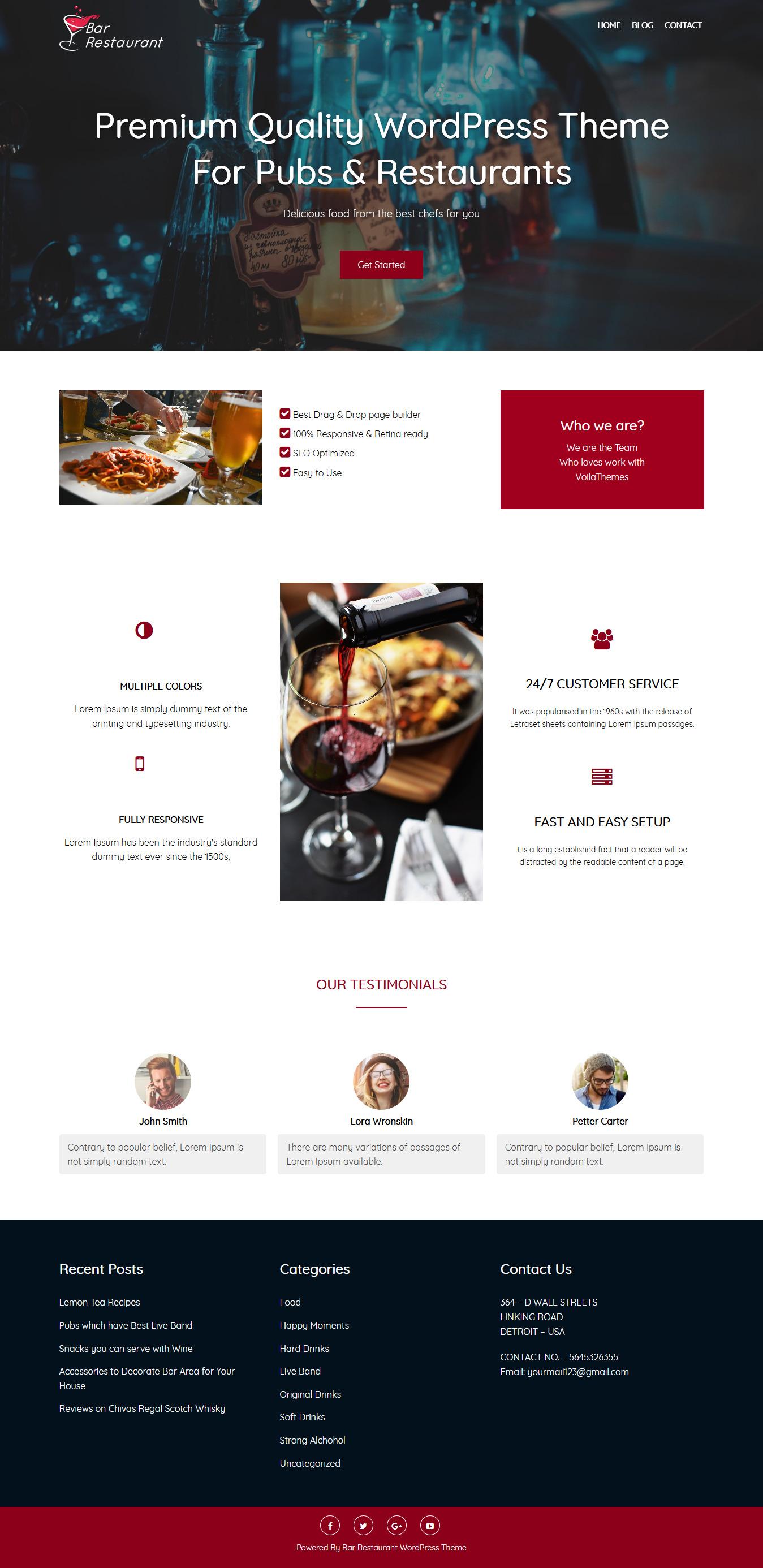 bar restaurant best free bar pub wordpress theme - 10+ Best Free Bar and Pub WordPress Themes