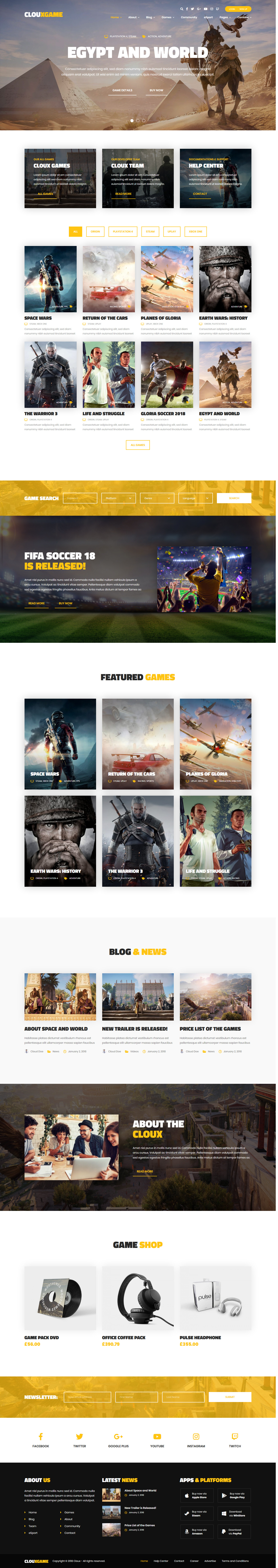 cloux best premium gaming wordpress theme - 10+ Best Premium Gaming WordPress Themes