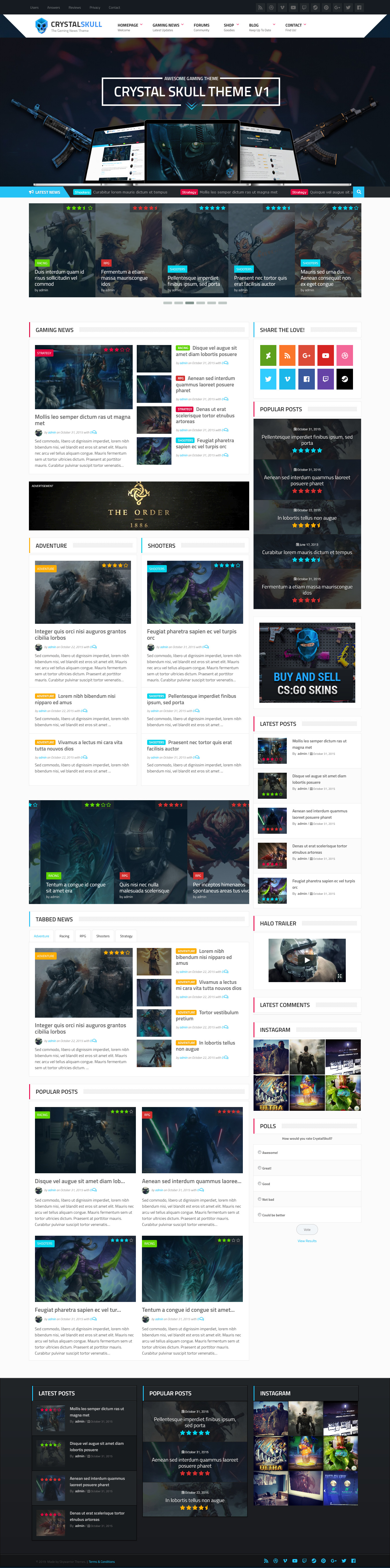 crystalskull best premium gaming wordpress theme - 10+ Best Premium Gaming WordPress Themes
