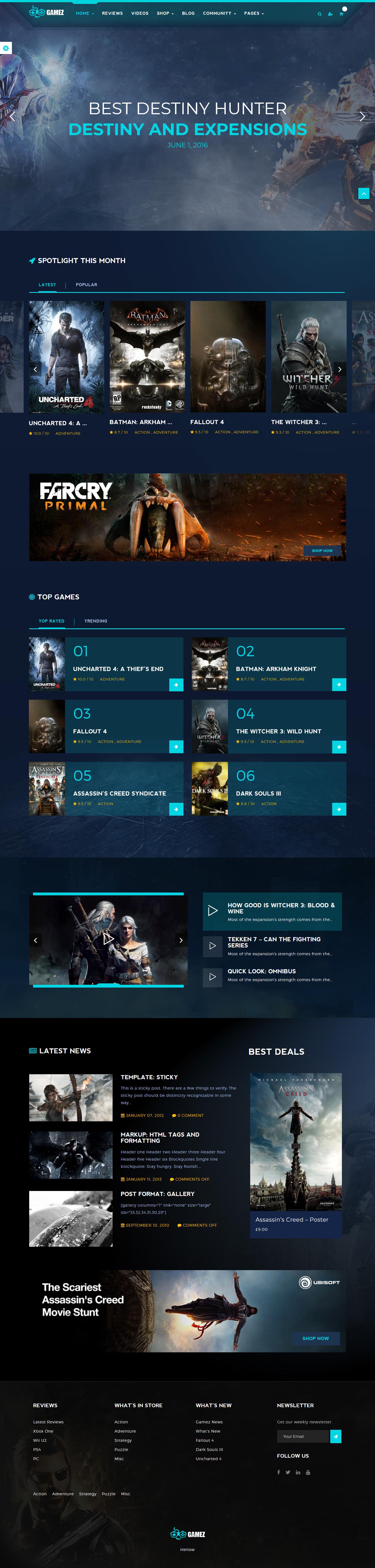 Gamez - Best Premium Gaming WordPress Theme