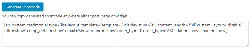 AP Custom Testimonial: Generate Shortcode