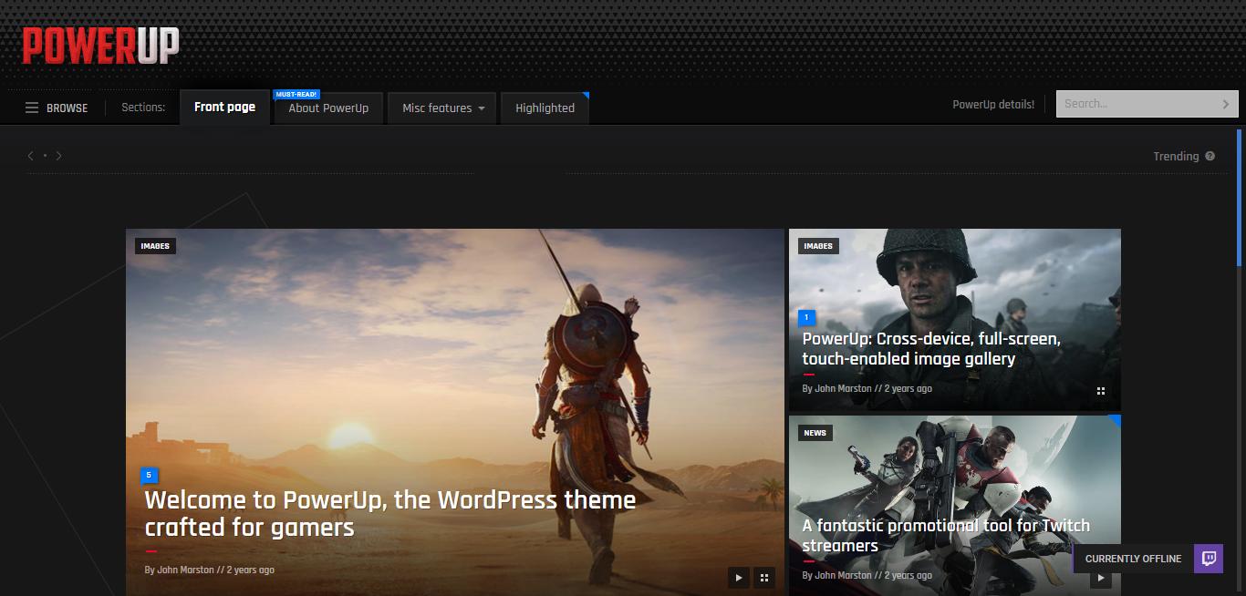 powerup best premium gaming wordpress theme - 10+ Best Premium Gaming WordPress Themes