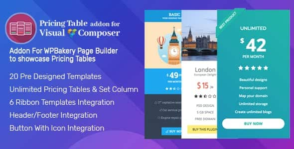 Pricing Tables Addon for Visual Composer – Best WP Bakery Pricing Tables Extension for WordPress