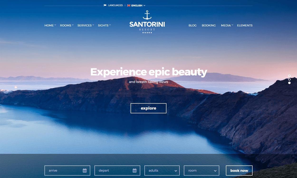Santorini Resort - Responsive WordPress Hotel Theme