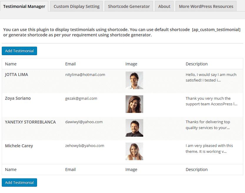 AP Custom Testimonial: Testimonial Manager