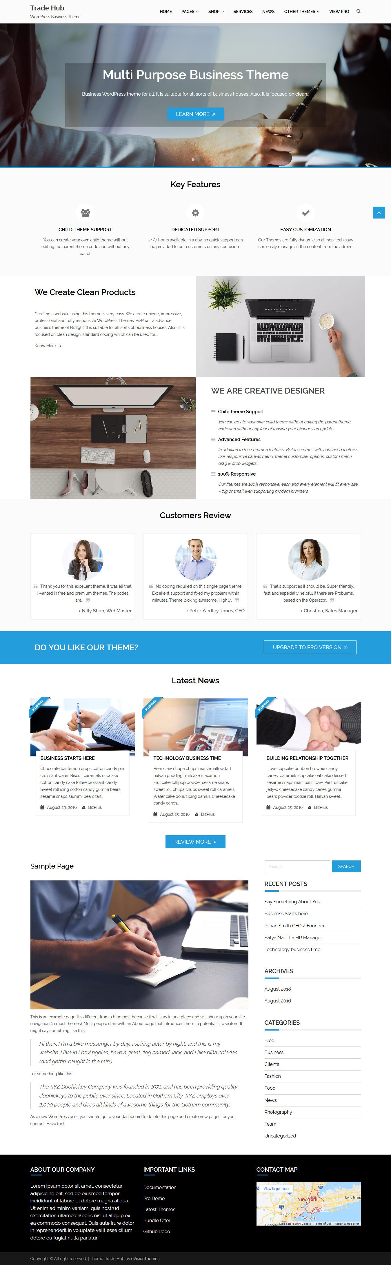 trade hub best free accounting wordpress theme - 10+ Best Free Accounting WordPress Themes