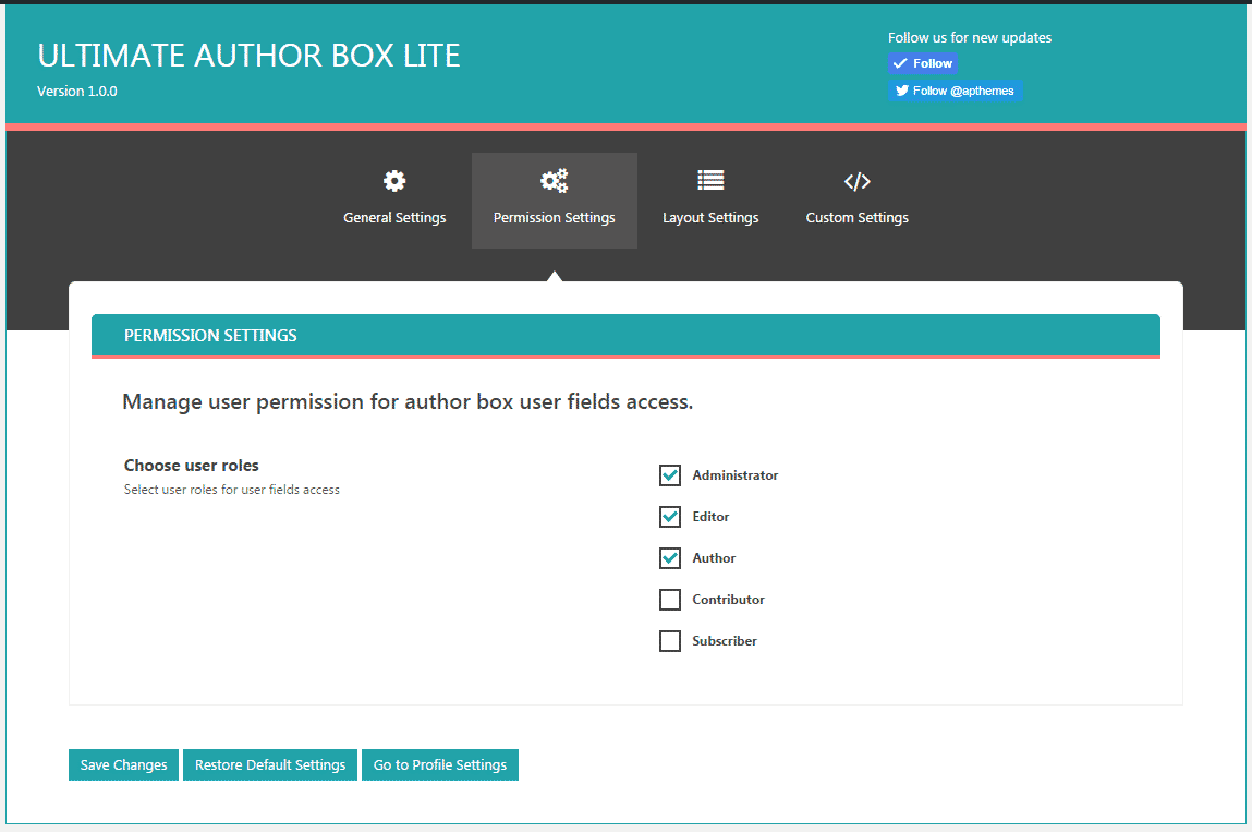 Ultimate Author Box Lite - Permission Settings