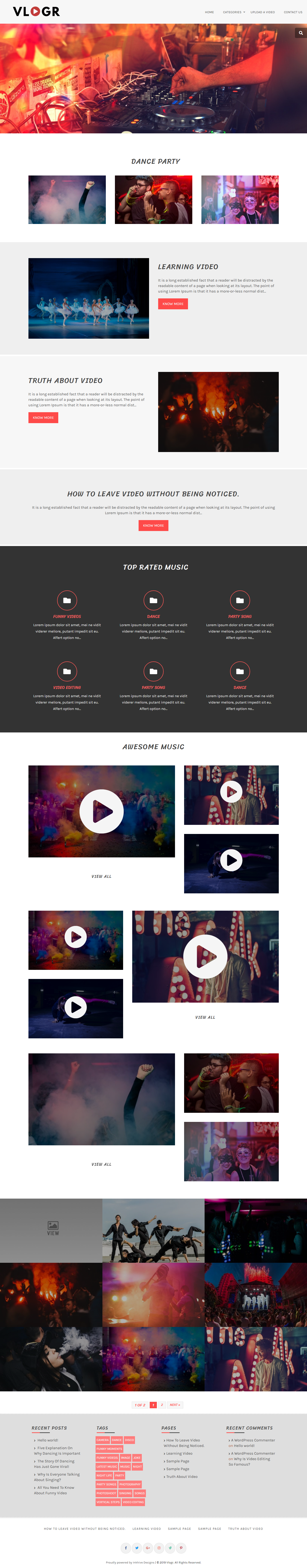 vlogr best free video and music wordpress theme - 10+ Best Free Video and Music WordPress Themes