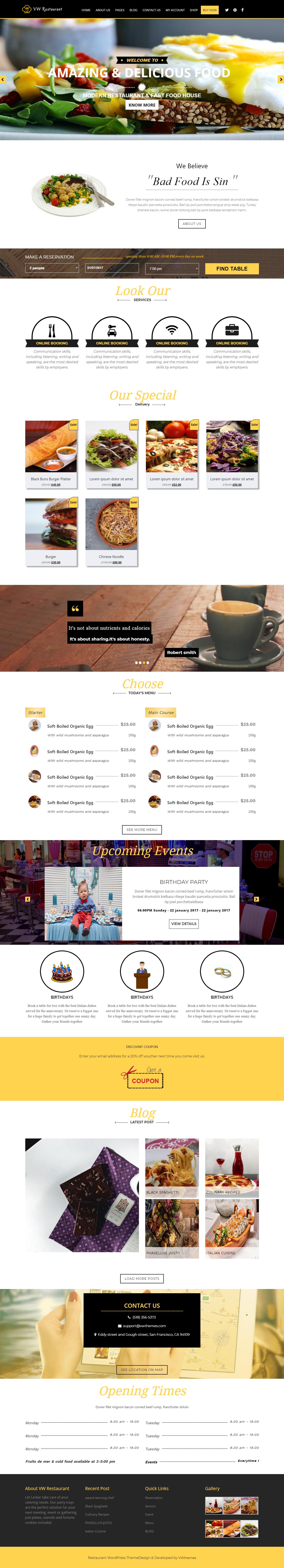 vw restaurant lite best free bar pub wordpress theme - 10+ Best Free Bar and Pub WordPress Themes