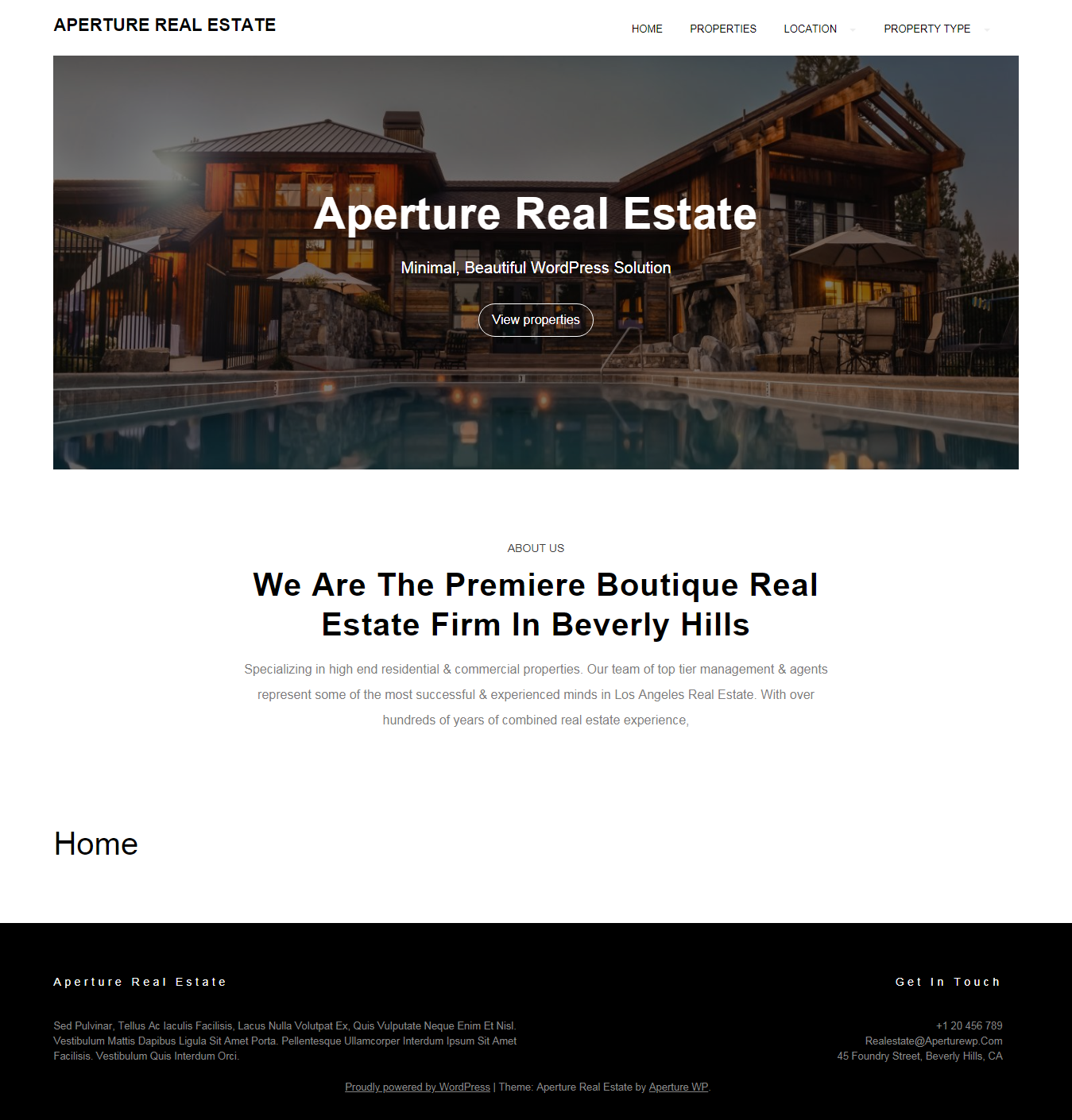 aperture real estate best free home rental property wordpress theme - 10+ Best Free Home Rental and Property WordPress Themes