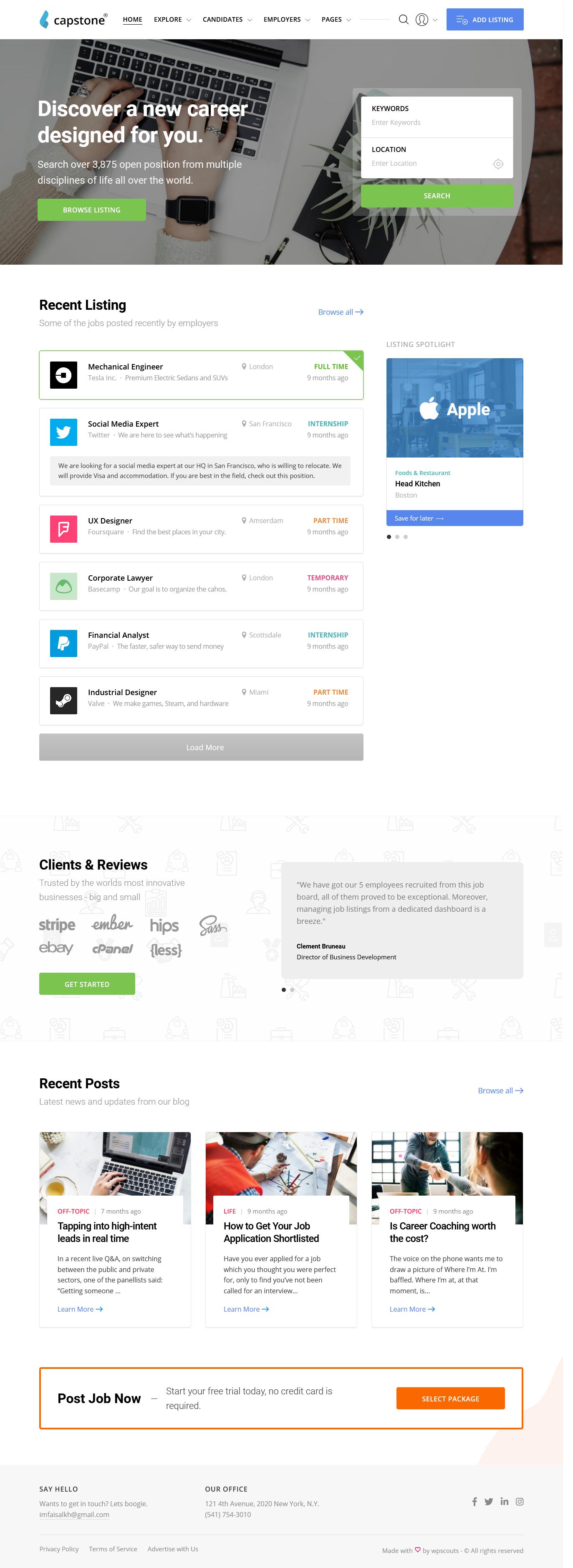 capstone best premium job board wordpress theme - 10+ Best Premium Job Board WordPress Themes